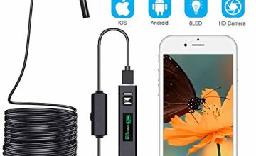 DUANG Endoscope Inspection Camera,Wireless Inspection Camera WiFi Endoscope,1200P USB Borescope Waterproof IP68 with 5M(16.4FT) Semi-rigid Cable,Compatible with IOS, Android, Windows,Mac