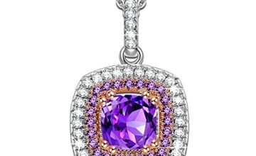 Alex Perry Mothers Day Jewellery Gifts for Her Gifts for Women 925 Sterling Silver Women Necklace Gifts Pendant Cubic Zirconia Purple Crystal Jewellery
