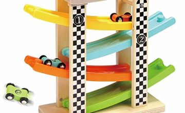 TOP BRIGHT Wooden Car Ramp Toys for 1 2 Year Old Boy Gifts, First Birthday Present for One Two Year Old Car Toy,Baby Toys 12 18 Months with 4 Mini Cars