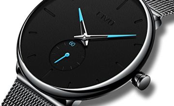 CIVO Mens Black Ultra Thin Watch Minimalist Fashion Wrist Watches for Men Business Dress Waterproof Casual Watch for Man with Stainless Steel Mesh Band Sub Dial (Brown Leather)