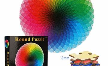 TINYOUTH 1000 Pieces Gradient Jigsaw Puzzle, Rainbow Puzzles for Adults, Round Jigsaw Puzzle, Colorful Challenge Puzzles - No Colour or Printing Blemishes, Educational Game Stress Reliever for Kids