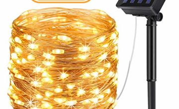 AICase Solar String Lights (22 m, 200 LED, Waterproof, 8 Modes), Starry Fairy Bendable Copper Wire Durable Outdoor String Lights for Garden, Patio, Home, Dancing, Wedding,Christmas Party (White)