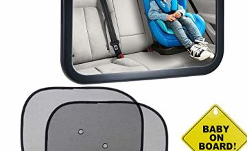 Emwel Baby Car Mirror with Sign & Car Window Roller Shades,
