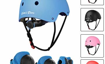 JIM'S STORE Kids Skateboard Pads Set 7pcs Adjustable Helmet Knee Pads Elbow Pads Wrist Pads Protective Gear Set for Scooter Cycling Roller Skating Blue