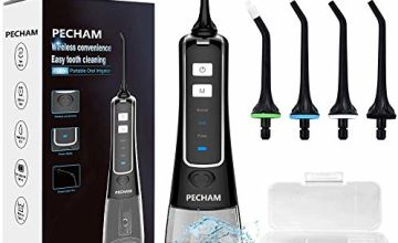 Water Flosser for Teeth, PECHAM Portable Cordless Oral Irrigator Water Dental Flosser IPX7 Waterproof 300ML 3 Modes 4 Jet Tips Deep Clean Helps Whiten Teeth, USB Rechargeable for Travel, FDA Approved