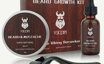 Derma Roller Beard Growth Kit, Beard Derma Roller+ Beard Growth Serum Oil+ Beard Balm, Perfect Gift for Men