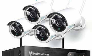 HeimVision HM241 WiFi CCTV Security Camera System, 8CH 1080P NVR 4Pcs 960P Outdoor/Indoor WiFi Surveillance Cameras with Night Vision, Weatherproof, Motion Detection, Remote Monitoring, No Hard Drive