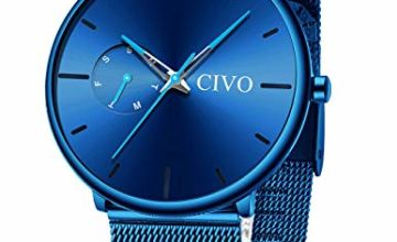 CIVO Mens Watches Men Minimalist Ultra Thin Waterproof Mesh