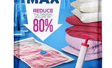 SPACE MAX Premium Vacuum Storage Space Saver Bags (80% More Compression Than Competitor Bags). Free Travel Hand-Pump Included! (6 Pack) …