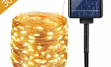 Solar LED Strip Lights, 33M 300LED Solar-Powered String Lights,Outdoor IP65 Waterproof 8 Modes for Party, Garden, Christmas, Halloween, Weddings, Patio, Gate, Courtyard-Energy Efficiency Class A +++