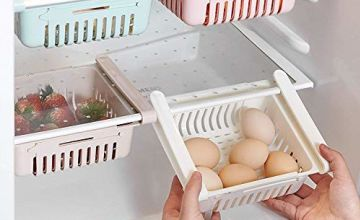 HapiLeap Retractable Drawer Organizer, Keep Tidy Shelf Organiser for Vegetables and Fruits (4 Pcs)