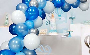 Blue Balloons Garland Kit Arch 117 Pcs Navy Sky Blue Balloon White Silver Balloons for Baby Shower Wedding Birthday Party