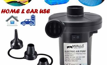 WALLE Electric Air Pump, Portable Quick Air Pump with 3 Nozzles for Air Mattresses Beds Boats Swimming Ring Inflatables 230V AC/12V DC (50W)
