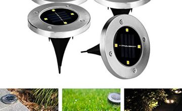 GEEDIAR Solar Garden Lights Outdoor Ground Solar Lights IP65 Waterproof 4 pcs 4 LED 100LM Floor Lamp Light Stainless Steel Solar Lamp for Stairway, Landscape, Roads, Pathway(Warm White Light)