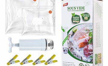 TAILI Vacuum Sealer Bags Reusable 30 Sous Vide Bags & 4 Sous
