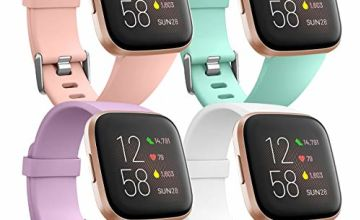 Ouwegaga Pack 4 Silicone Strap Compatible with Fitbit Versa Strap/Fitbit Versa 2 Strap, Replacement Sport Wrist Strap for Fitbit Versa 2/Versa/Versa Lite, Women & Men Small Large