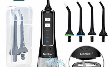 Water Flosser for Teeth, Nicefeel Portable Oral Irrigator Water Dental Flosser IPX7 Waterproof 300ML 3 Modes 4 Jet Tips Deep Clean Helps Whiten Teeth, USB Rechargeable for Travel with FDA Approved