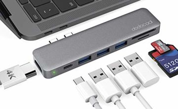 dodocool USB-C Hub,Type C USB Adapter (Thunderbolt 3 Compatible) for MacBook Pro/MacBook Air 2018 2019(4K HDMI, 2 USB 3.0 Ports, SD/TF Card Reader, 7-in-2 mac Adapter with 100W PD)