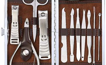 Abody Nail Clippers Set, 12pcs Stainless Steel Manicure Pedicure Kit With Leather Case for Travel (Brown)