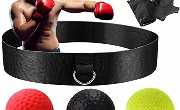 Wesho Boxing Reflex Ball Boxing Training Ball 3 Difficulty Level Boxing Ball with Headband, Suit for Reaction, Agility, Punching Speed, Fight Skill and Hand Eye Coordination Training