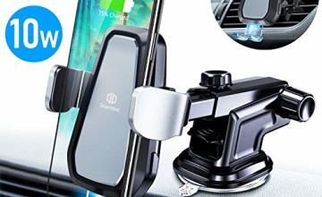 DesertWest Wireless Car Charger Auto Clamping Car Phone Holder with Adjustable Arm 360° Rotation Vent Clip Fast Qi Wireless Charger for New iPhone SE 2020 11 8 XS Samsung S20 S10 All Qi-Enabled Phones