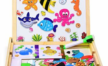 Dookey Wooden Puzzle Magnetic Board Games Marine Organisms Pattern 100 PCS Jigsaw & Drawing Easel Chalkboard Educational Learning Toys with 2 Pens for Kids 3 to 6 Years Old