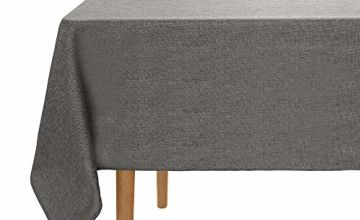 UMI. Essentials Faux Linen Waterproof Tablecloth Rectangular Table Cover for Dining Room