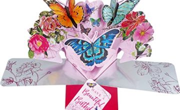 Second Nature Birthday Pop Up Card with 'Beautiful Birthday' Lettering & Butterflies