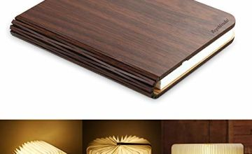 RegeMoudal Wooden Folding Book, LED Light Magnetic USB Rechargeable Desk Table Floor Bedside Night Art Lamp for Children Girlfriend Parents Anniversary Valentine Creative Gift Home Decor Warm White