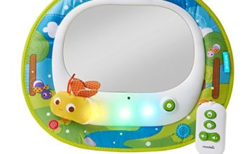 Save on Brica by Munchkin Baby In-Sight Firefly Car Mirror, 4 entertaining tunes and soothing melodies, synced with Firefly and LED light show, Auto Battery Shut Off and more