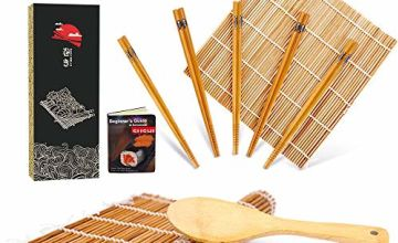 Bamboo Sushi Rolling Mat with Gift Box, Carbonized Sushi Making Kit, Beginner Sushi Mat, Includes 2 Rolling Mats - 5 Pairs Chopsticks - Paddle - Spreader - Beginner's Guide Book, Roll on!
