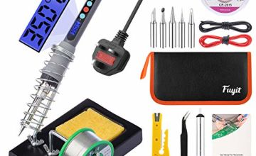 Fuyit LCD Soldring Iron Kit 15pcs Welding Tools with Adjustable Temp 180°C- 480°C