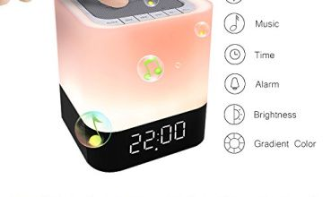 Bluetooth Speaker Lamp LED Touch Night Light Portable Wireless Speaker Bedside Lamp 5 in 1 USB Rechargeable Color Changing Mood Table Lamp for Men Women Teens Kids
