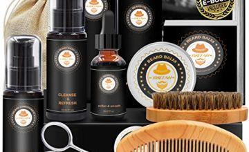 Upgraded Beard Grooming Kit w/Beard Conditioner,Beard Oil,Beard Balm,Beard Brush,Beard Shampoo/Wash,Beard Comb,Beard Scissors,Storage Bag,Beard E-Book,Beard Growth Care Daddy Gifts for Men