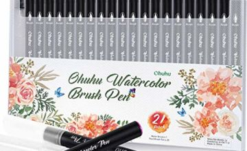 Watercolor Brush Markers Pen, Ohuhu 20+1 Colours Water Based Drawing Marker Brushes W/A Water Coloring Brush, Water Colored Ink W/Soft Flexible Tip for Adult Coloring Books, Manga, Comic, Calligraphy