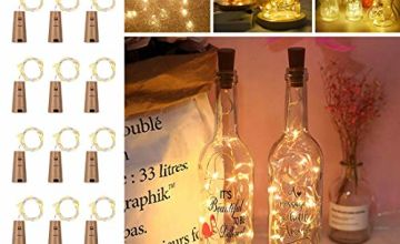 Opard Bottle Lights with Cork 12 Pack Battery Operated 2M 20LEDs Copper Wire Wine Bottle Lamp Warm White for Indoor Outdoor Christmas Parties Wedding Decoration
