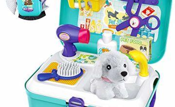 Sanlebi Pet Care Role Play Set Grooming Toys Feeding Dog Backpack Vet Kit Educational Toy for Kids Children (16 pcs)