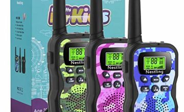 Nestling Walkie Talkies 3 Pack, Camo Exterior Vox Box Voice Activated 2 Way Radio Toy with Backlit LCD Flashlight, 3 Miles Range for Kids, Outdoor Adventures, Camping, Hiking