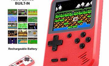 Handheld Game Console, Molyhood Portable Retro Game Player, 2.8-inch display Built in 400 Classical Games, Support TV plus two Players, Recreational Machines Gift Birthday Presents for kids, Adults