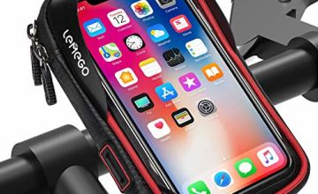 LEMEGO Waterproof Bike Phone Mount Holder Pouch Bag, Universal Bicycle Rear Handlebar Pouch with Water Resistant Frame Transparent Touchable Pouch Case For 6 Inchs Smartphone