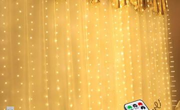 LED Window Curtain String Light -3* 2.8M 280 LED 8 Modes Fairy Lights With Hook Remote Control USB Powered Waterproof Copper Wire Decor Lights for Christmas Bedroom Party Wedding Home Wall Decorations