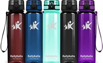 KollyKolla Sports Water Bottle - 350/500/800ml/1L/1.5L, BPA Free Tritan Plastic Eco-Friendly Drink Bottles with Filter & Time Marker, One Click Flip Lid, for Kids, School, Gym, Hiking, Bicycle, Yoga