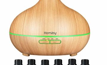 Homasy 500ml Aromatherapy Oil Diffuser with 6Pcs*10ml Pure Essential Oil Gift Set, Large Capacity Essential Oil Diffuser with 4 Timer Setting, 14 Colour Lights, Auto Shut-Off-Yellow Wood Grain