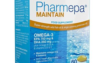 Pharmepa MAINTAIN Omega-3 EPA & DHA Wild Fish Oil with GLA & Vitamin D3,  750 mg EPA & 250 mg DHA per serving, fast-acting rTG omega-3, 60 capsules