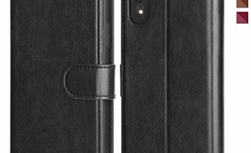 OCASE iPhone XR Case, Premium Leather iPhone XR case [TPU Shockproof Interior Protective Case] Flip Leather Wallet Phone Case - For the 6.1 inch iPhone XR -Black