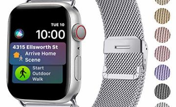 Funbiz Metal Strap Compatible with Apple Watch 38mm 40mm 42mm 44mm, Flexible Breathable Stainless Steel Mesh Bracelet Smartwatch Replacement Band for iWatch Series 5 4 3 2 1