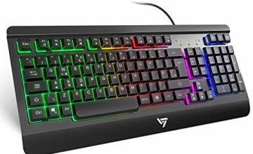 Gaming Keyboard UK, VicTsing Ultra-Slim All-Metal Frame USB Wired Keyboard with Comfortable Wrist Rest, Rainbow LED, Bright Glow Keys, 12 Multimedia Shortcut Keys, 19-Key Anti-Ghosting, Plug & Play