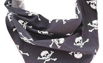 Pet Pooch Boutique Skulls Bandana for Dog, Small/Medium, Black