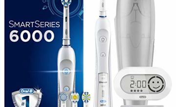 Oral-B SmartSeries 6000 CrossAction Electric Toothbrush, 1 White App Connected Handle, 5 Cleaning Modes with Whitening and Gum Care, Pressure Sensor, 4 Toothbrush Heads, Travel Case, UK 2 Pin Plug