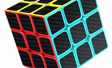 cfmour Rubiks Cube,Rubix Cube Speed Cube Set,2x2 3x3 4x4 5x5 Carbon Fiber Sticker Cube Bundle for Kids